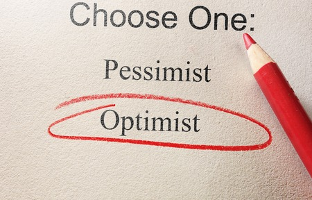 optimist: Survey question with Optimist circled in red pencil Stock Photo