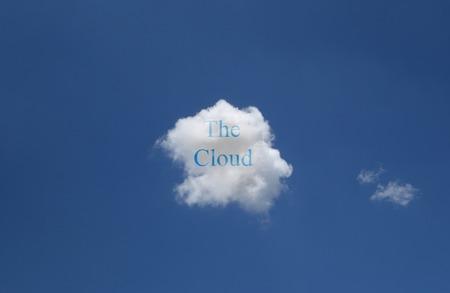 하늘에 구름 인터넷 데이터 스토리지 개념