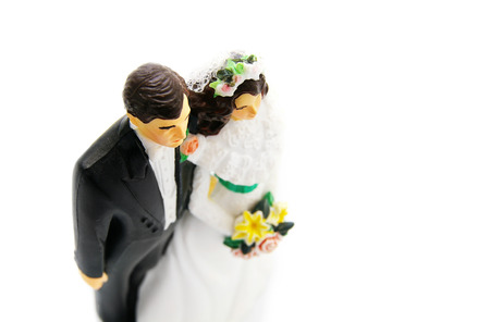 topper: plastic bride and groom cake topper figures isolated on white