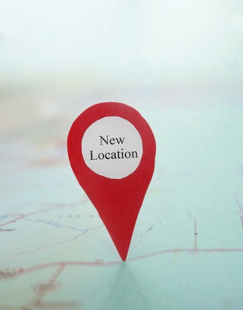 RELOCATED: Red New Location locator on a map