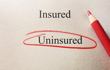 Onverzekerde omcirkeld met Verzekerde tekst en potlood op grof papier ontbreken van verzekerings concept
