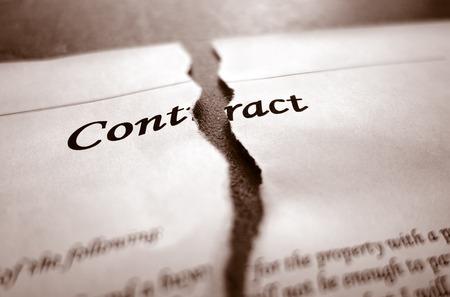 Closeup of torn legal contract