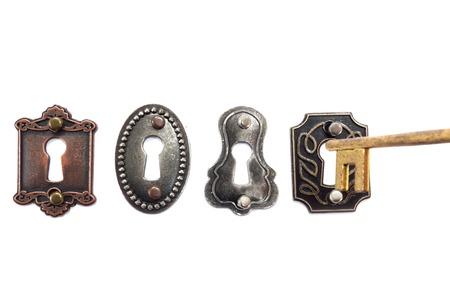 lock and key: Old fashioned locks with antique key isolated on white Stock Photo