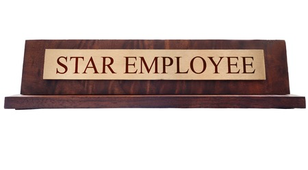 nameplate: Star Employee wooden nameplate isolated on white