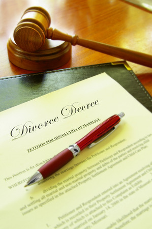 decree: Divorce Decree document with gavel and a pen
