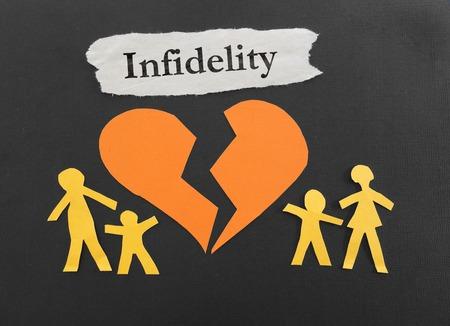 Papierfamilie und ein gebrochenes Herz mit Untreue Nachricht Standard-Bild - 40929031