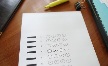 multiple choice: Multiple choice test with SAT text in the circles Stock Photo