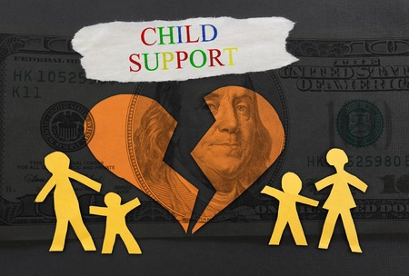 sue: Child Support text with paper family and broken heart over money background