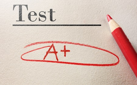 pass test: Test with A circled in red pencil