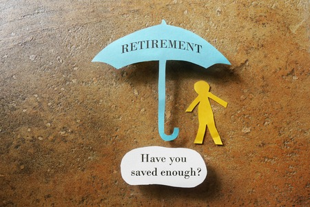 Retirement umbrella with Have you saved enough text 免版税图像 - 42892640