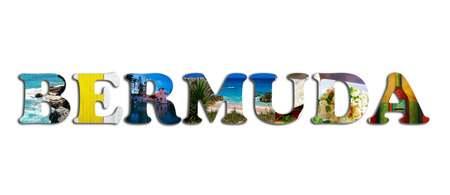 Bermuda text with assorted images of the island, isolated on white Stock Photo