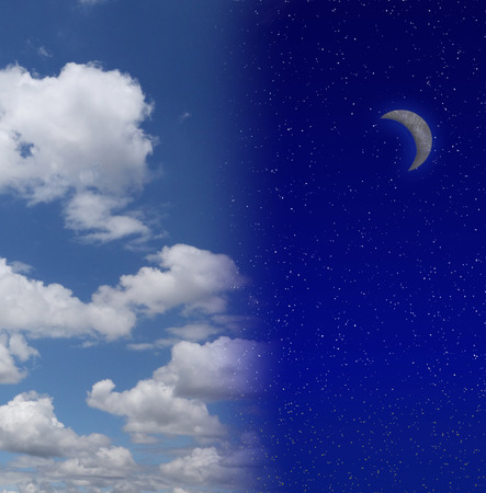 transition: Night sky filled with stars and crescent moon beside cloud filled blue sky