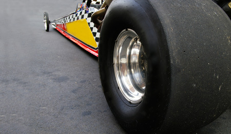dragster: Dragster race car shot from back left tire