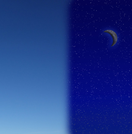 nite: Day changing to night sky with stars and crescent moon -- night and day concept Stock Photo