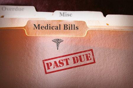 egészségügyi: Fájl mappák Lejárt az orvosi számlák szöveget Stock fotó
