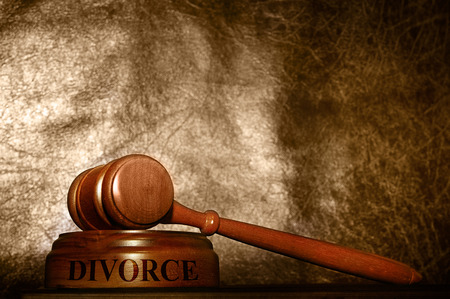 alimony: legal gavel with Divorce text over textured background
