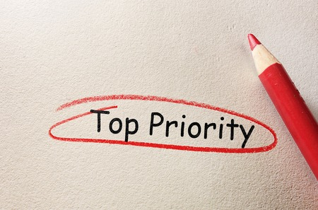 Top Priority circled in red on textured paper