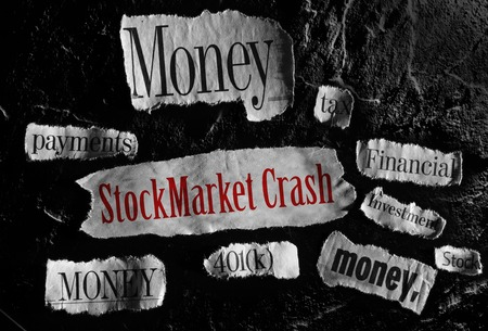 stock market crash: Financial related news items with Stock Market Crash headline Stock Photo