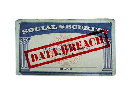 stolen data: Social security card with Data Breach text isolated on white