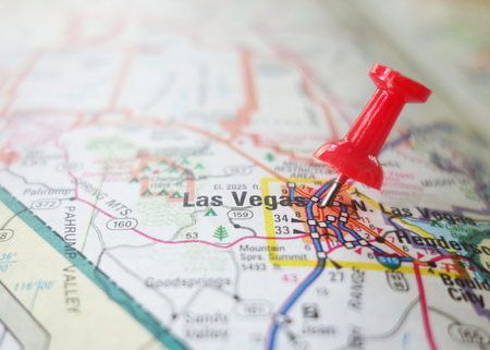 Red locator pin in a Las Vegas map