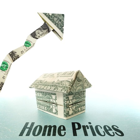 home prices: Dollar house with upward pointing arrow and Home Prices text