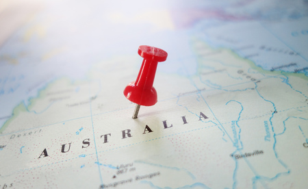 Red locator pin in map of Australia