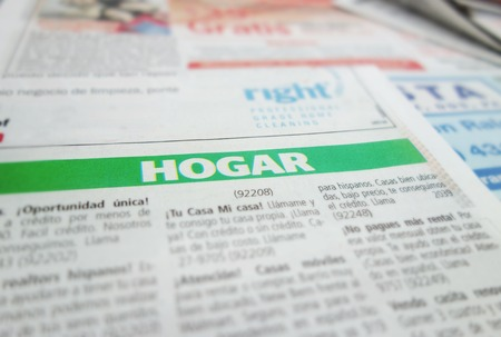 housing search: Home section of a Spanish language newspaper classified section