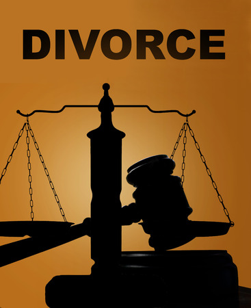 divorce court: Court gavel and scales of justice silhouette with Divorce text