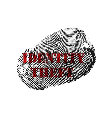 identity theft: Isolated fingerprint with Identity Theft text in red