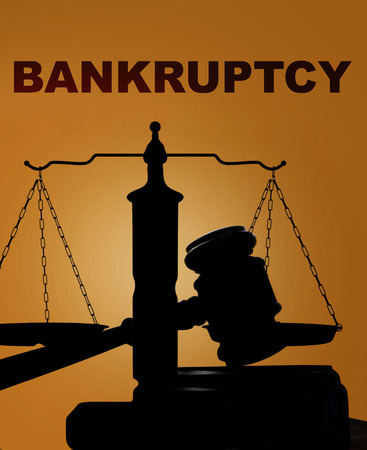lawsuit: Court gavel and scales of justice silhouette with Bankruptcy text Stock Photo