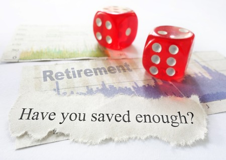 savings risk: Retirement savings questions with dice and stock market graphs