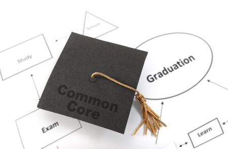 Graduation cap with Common Core message on a flow chart