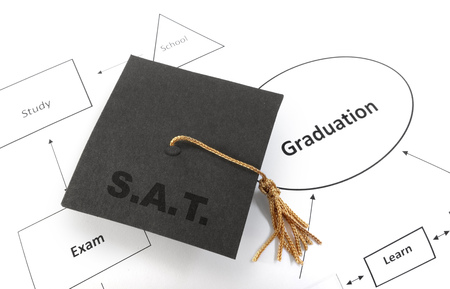 scholastic: Graduation cap with SAT message, on flow chart