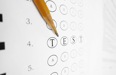 multiple choice: Closeup of a multiple choice exam with TEST text