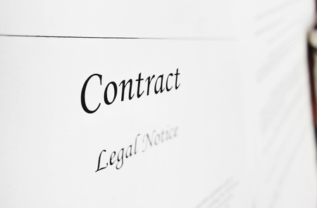sue: Closeup of a legal contract document Stock Photo