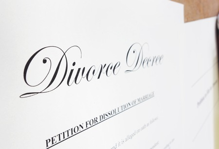 decree: Closeup of a divorce decree document