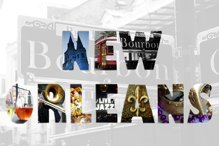 New Orleans spelled out with iconic images, over Bourbon St backgroind Stock Photo - 48039169
