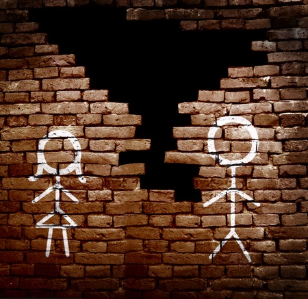 relationship breakup: Man and woman stick figures on broken brick wall -- divorce concept