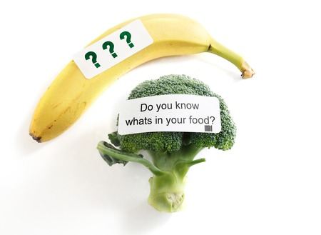 genetically modified: Do You Know Whats In Your Food label on broccoli -- food safety or GMO concept
