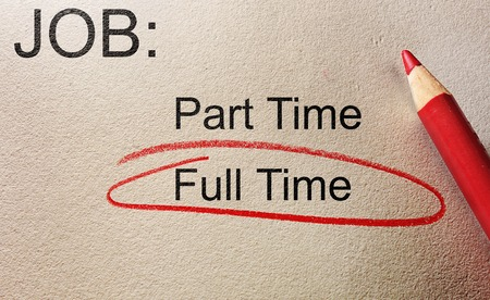 Full Time circled in red, with Part Time text -- employment concept