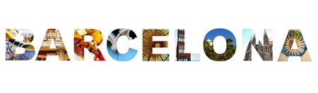 Barcelona Spain illustration made up of assorted images from around the city Banco de Imagens