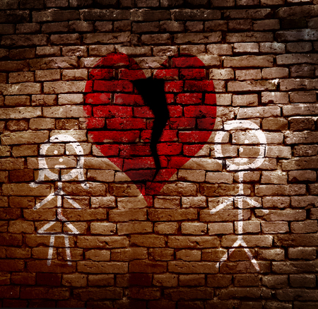 broken wall: Stick figure couple on brick wall with broken red heart -- divorce concept Stock Photo