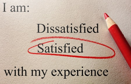 Customer service survey with Satisfied circled in red