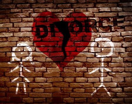 Strichmännchen Paar auf Mauer mit gebrochenen roten Herzen und Scheidung Text Standard-Bild - 50406952