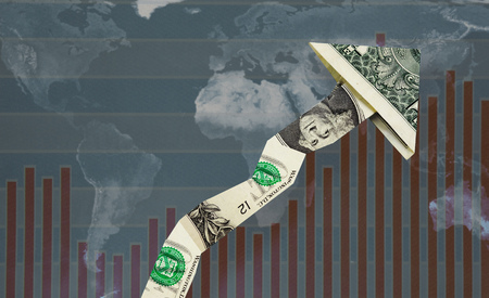 Upward pointing dollar arrow over world map and graph