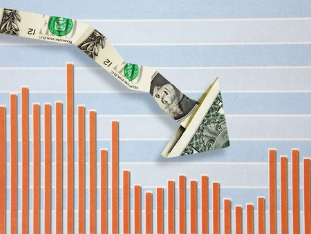 price uncertainty: Downward pointing dollar arrow over bar graph