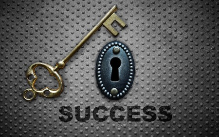 gold key: gold key to success and key hole on metal background