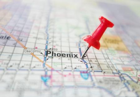 Closeup of Phoenix Arizona map with red tack