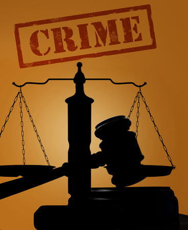 Court gavel and scales of justice silhouette with Crime text
