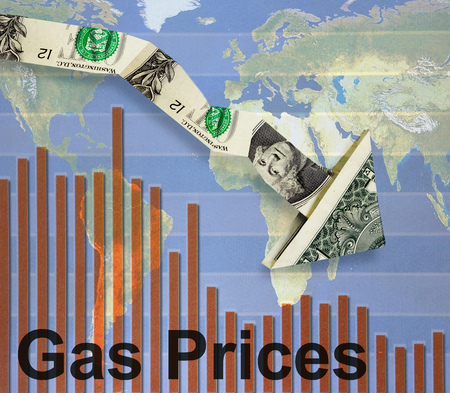 gas prices: Downward pointing dollar arrow over gas prices bar graph